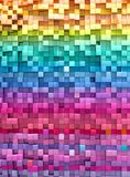 3D rendering abstract background colorful cubes wall.  royalty free illustration