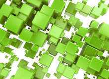 3D rendering of and abstract background. Made of green cubes over white Royalty Free Illustration