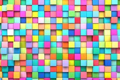 3D rendering abstract background of multi-colored cubes.  Stock Photography