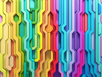 3D rendering abstract background of multi-colored lines shapes Stock Photos