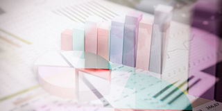 3d rendering abstract bar and pie charts Stock Photo