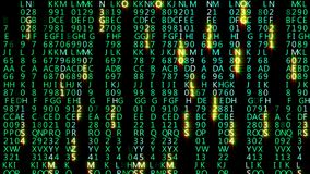 3D rendering of abstract blocks of matrix code located in the virtual space stock images