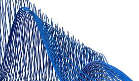 3D Rendering Of Abstract Blue Curved Lines Stock Image
