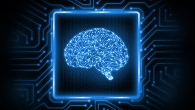 3D Rendering of abstract blue glowing circuit board background with brain logo at center. Perfect for Artificial Intelligence royalty free illustration