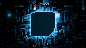 3D Rendering of abstract blue glowing circuit board background with copy space at center for your text royalty free stock image