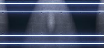 Abstract Blue Neon Tube Lights. 3D Rendering Of Abstract Blue Neon Tube Lights On Concrete Wall Texture Royalty Free Stock Photos