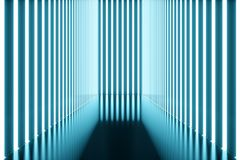 3D rendering Abstract blue room interior with blue neon lamps. Futuristic architecture background. Mock-up for your. Design project Royalty Free Stock Photos