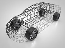 3D rendering: abstract car and carbody. Abstract car with carbody made out of a grid Stock Photos