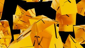 3D Rendering Of Abstract Chaotic Gold Pyramids Background. 3D Rendering Of Abstract Chaotic Gold Pyramids Background vector illustration
