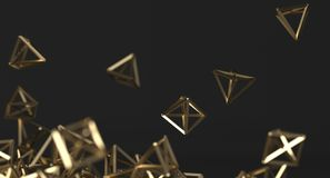 Abstract Chaotic Gold Pyramids Background. 3D Rendering Of Abstract Chaotic Gold Pyramids Background stock illustration