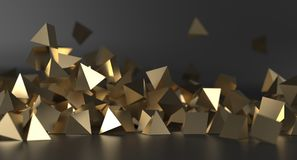 Abstract Chaotic Gold Pyramids Background. 3D Rendering Of Abstract Chaotic Gold Pyramids Background royalty free illustration