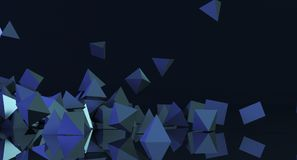 Abstract Chaotic Pyramids Background. 3D Rendering Of Abstract Chaotic Pyramids Background Stock Photo