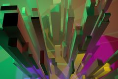 3D rendering. Abstract colorful lighting, pillar block or shapre. Wallpaper for graphic design. 3D rendering. Colorful lighting, block or shapre, pillar royalty free illustration