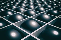 Background black balls. 3d rendering of an abstract composition of  lot of black balls Stock Image