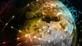 3D rendering abstract of world network, internet and global connection concept. 3D rendering abstract concept of global network. Internet and global Stock Photos