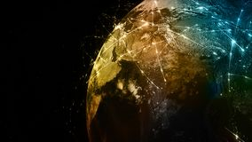 3D rendering abstract of world network, internet and global connection concept. 3D rendering abstract concept of global network. Internet and global Stock Image