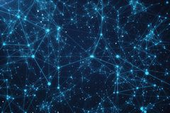 3D Rendering Abstract Connected Dots With Lines. Technology Concept Background With Stars and Nebula.  Royalty Free Stock Photos
