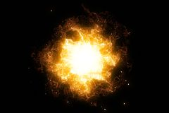 3D rendering, abstract cosmic explosion shockwave warm gold energy on black background Stock Photography