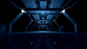 Abstract Blue Sci Fi Futuristic Interior Design Corridor.3D Rendering. 3D rendering of abstract dark blue sci fi futuristic space station or ship interior Royalty Free Stock Image
