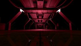 Abstract Red Sci Fi Futuristic Interior Design Corridor.3D Rendering. 3D rendering of abstract dark red sci fi futuristic space station or ship interior Royalty Free Stock Photos