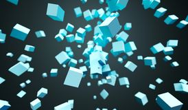 Flying Chaotic Cubes. 3D Rendering Of Abstract Flying Chaotic Cubes On Dark Background Royalty Free Stock Images