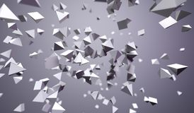 Flying Chaotic Pyramids. 3D Rendering Of Abstract Flying Chaotic Pyramids On Grey Background Royalty Free Stock Photos