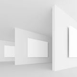 3d Rendering of Abstract Gallery Interior. White Retro Architect. Ure Background. Minimal Empty Hall royalty free illustration