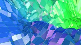 3d rendering abstract geometric background with modern gradient colors in low poly style. 3d surface with green blue. 3d rendering abstract geometric background Royalty Free Illustration
