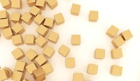 Abstract Gold Metal Cubes. 3D Rendering Of Abstract Gold Metal Cubes Background Royalty Free Stock Photo