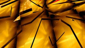 3d rendering. Abstract golden background of triangles. Close-up Stock Images