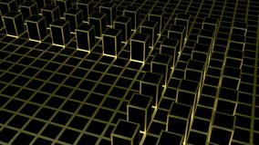 3d rendering. Abstract golden square shape block on dark color cube boxes background. Texture stock illustration