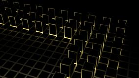 3d rendering. Abstract golden square shape block on dark color cube boxes background. Texture royalty free illustration