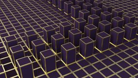 3d rendering. Abstract golden square shape block on dark color cube. Boxes cornor wall background royalty free illustration