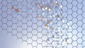 Scattered hexagon geometric perspective grid. 3d rendering of abstract hexagon geometric perspective grid. Scattered white futuristic hexagonal layered wall vector illustration