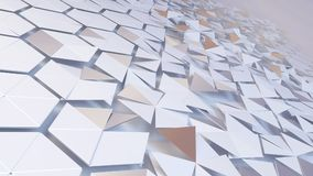 Scattered hexagon geometric perspective grid. 3d rendering of abstract hexagon geometric perspective grid. Scattered white futuristic hexagonal layered wall stock illustration