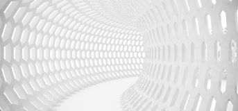 Abstract Hexagon Grid Mesh Tunnel. 3D Rendering Of Abstract Hexagon Grid Mesh Tunnel Royalty Free Stock Photos