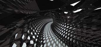 Abstract Hexagon Grid Mesh Tunnel. 3D Rendering Of Abstract Hexagon Grid Mesh Tunnel Royalty Free Stock Photography