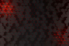 3D Rendering Of An Abstract Hexagons Background With Red Light. Shining Through With Bloom Top View Royalty Free Stock Photos