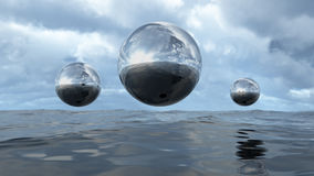 3D rendering abstract liquid transparent sphere above water Royalty Free Stock Image