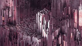 3D rendering abstract rose quartz blocks background with shiny reflection. 3D rendering abstract mountains of metal cubes. Boxes randomly scattering on terraine stock illustration