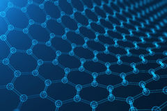 3d rendering abstract nanotechnology, glowing hexagonal geometric form close-up, concept graphene atomic structure Royalty Free Stock Images