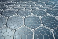 3d rendering abstract nanotechnology hexagonal geometric form close-up, concept graphene atomic structure, concept. Graphene molecular structure Royalty Free Stock Image