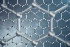 3d rendering abstract nanotechnology hexagonal geometric form close-up, concept graphene atomic structure, concept. Graphene molecular structure Royalty Free Stock Photos