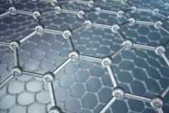 3d rendering abstract nanotechnology hexagonal geometric form close-up, concept graphene atomic structure, concept. Graphene molecular structure stock illustration