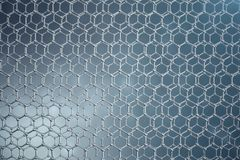 3D rendering abstract nanotechnology hexagonal geometric form close-up. Graphene atomic structure concept, carbon. Structure Stock Photography