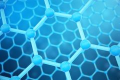 3D rendering abstract nanotechnology hexagonal geometric form close-up. Graphene atomic structure concept, carbon. Structure vector illustration