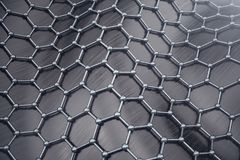 3D rendering abstract nanotechnology hexagonal geometric form close-up. Graphene atomic structure concept, carbon vector illustration