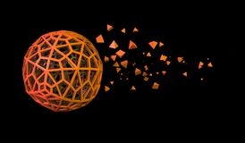 Hollow Sphere With Chaotic Pyramid Particles Royalty Free Stock Images