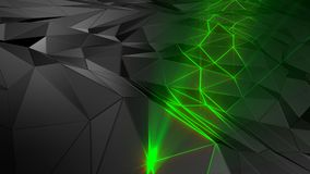 3D rendering abstract polygonal space low poly with connecting surface. Futuristic HUD background Royalty Free Stock Image