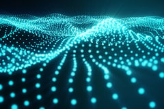 3d rendering abstract polygonal wave background with connecting dots and lines. Connection structure. Computer HUD. Flow. Wave. Blue Lines and dots Stock Photos